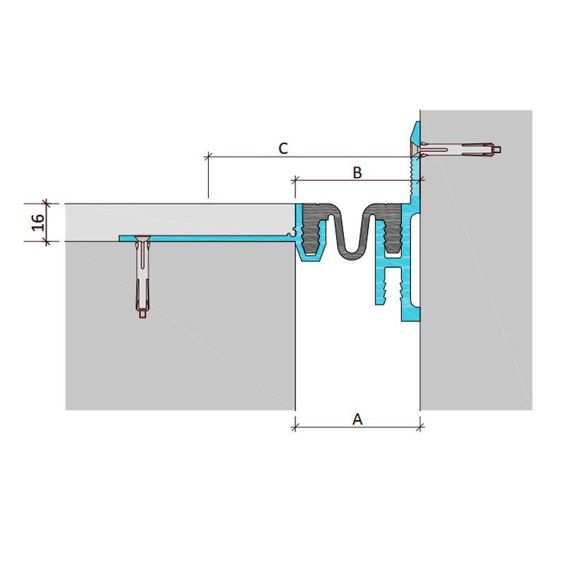 Дилатационное устройство Аквастоп ДШКА-16-УГЛ/055